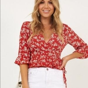 Showpo Hard To Get Top In Red Floral New!!